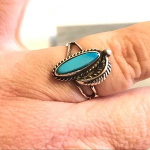 Native American Sterling Turquoise Ring 7 1/2